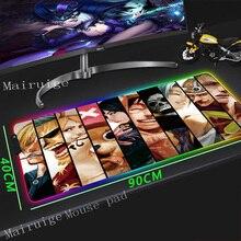 Mairuige Anime Large Size RGB Mouse Pad Locking Edge Laptop Table Mat Handsome Killua Kurapika Rubber Non-slip for Csgo