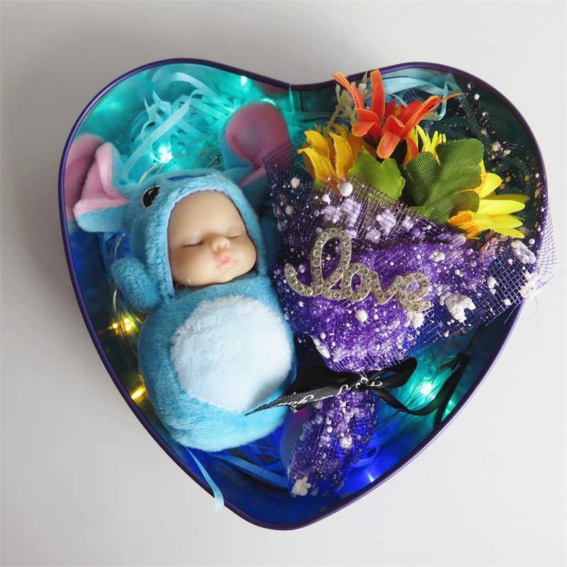 Nhân Tạo nhỏ hoa với nữ thời trang cho bé ngủ sang trọng LED hộp quà tặng trang trí nhà Sáng Tạo Lễ Tình Nhân Quà tặng Đám Cưới