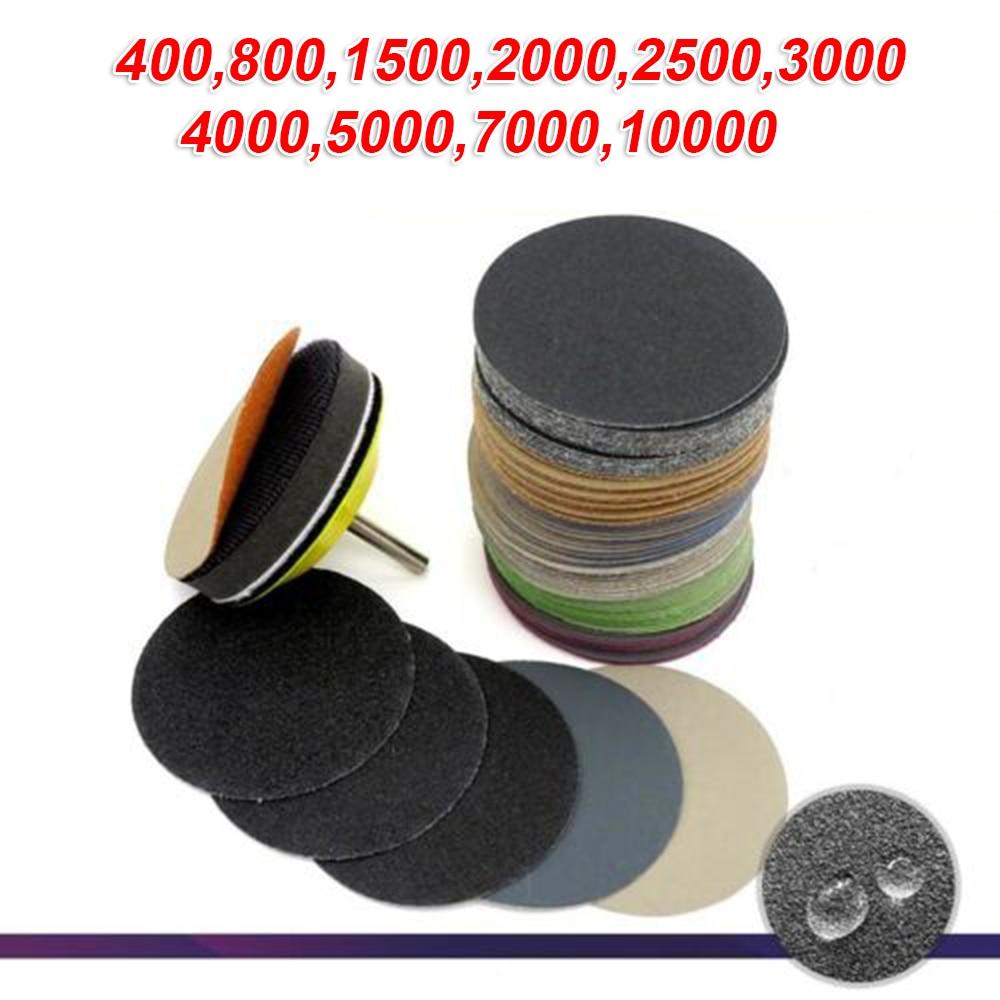 50Pcs 3 Inch Diameter 75 Mm Sanding Disc 75mm Wet & Dry Flocking Sandpaper 400-10000 Grit Polishing Tool Parts