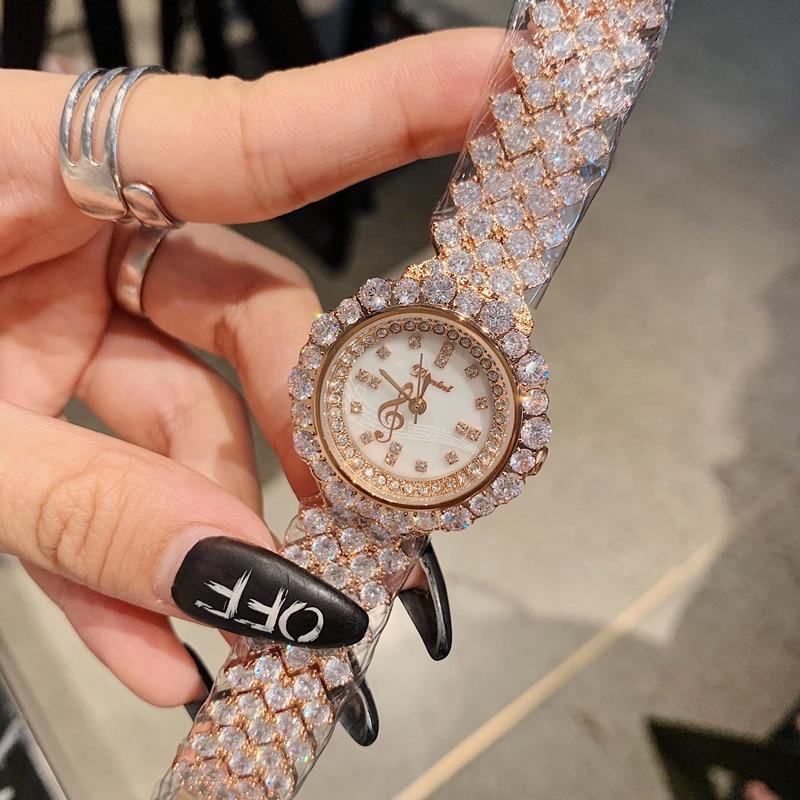 Brand Shinning Full Diamond Jewelry Watches for Women Elegant Bracelet Watch Party Dress Wrist watch Quartz Shell Analog Clocks