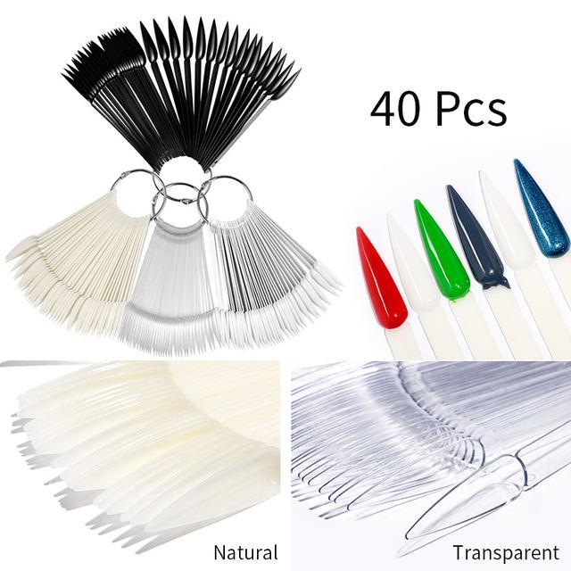 40 Pcs False Nail Tips Color Card Transparent White Natural Black Nail Art Practice Display Nail Art Decoration DIY Tools