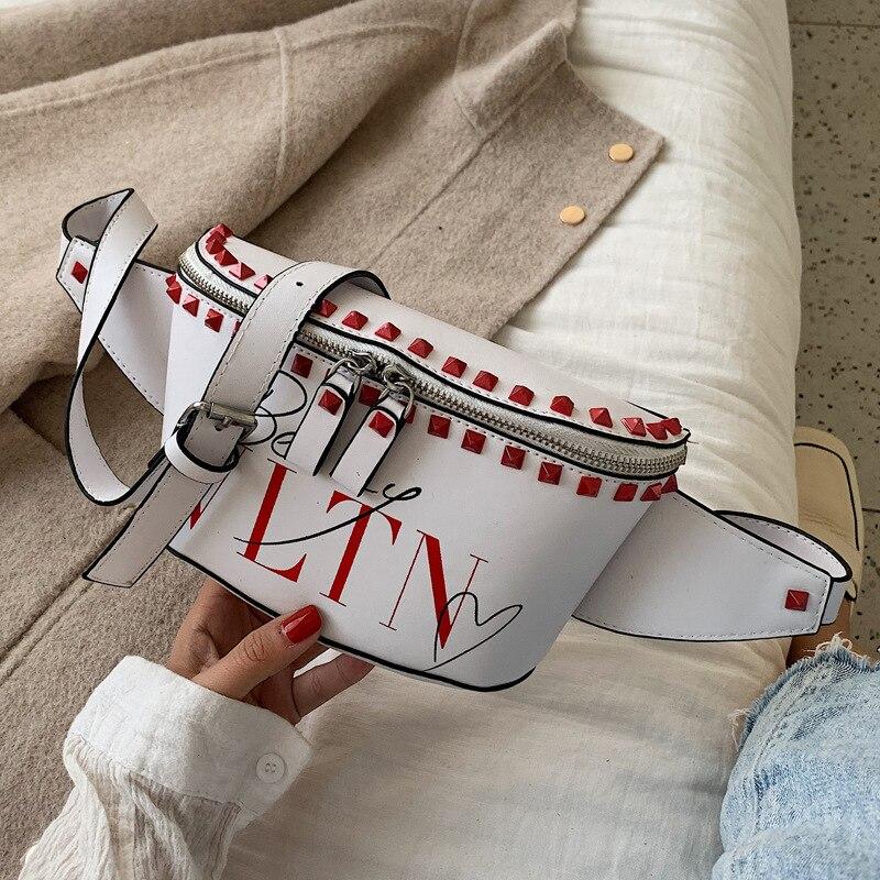 Female 2019 new chest bag Luxury Handbags Women Bags Designer popular tide slung wild ins fashion rivet waist bag