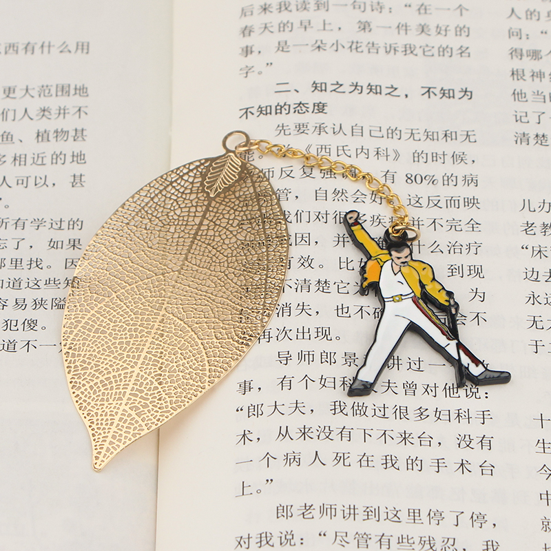 CA781 Wholesale 10pcs/lot Freddie Mercury Metal Bookmarks For Books Leave Pendant Bookmark Stationery School Office Supplies