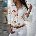 Frauen Tops Dünne Blume Blusen Herbst Elegante Langarm Druck Chiffon Bluse Weibliche Arbeit Tragen Shirts Plus Größe 5XL Revers blusa