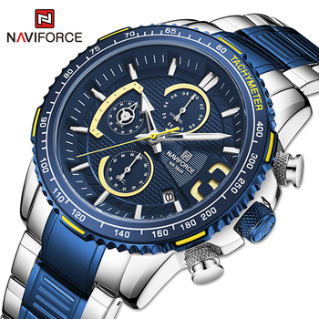 NAVIFORCE Mens Quartz Multifunction Chronograph Sports Watches Fashion Waterproof Military Top Luxury Stainless Steel Wristwatch 2