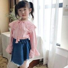Детская одежда; коллекция года; сезон осень; стиль; Однотонная рубашка с длинными рукавами для девочек; Базовая рубашка; Детские топы с отложным воротником