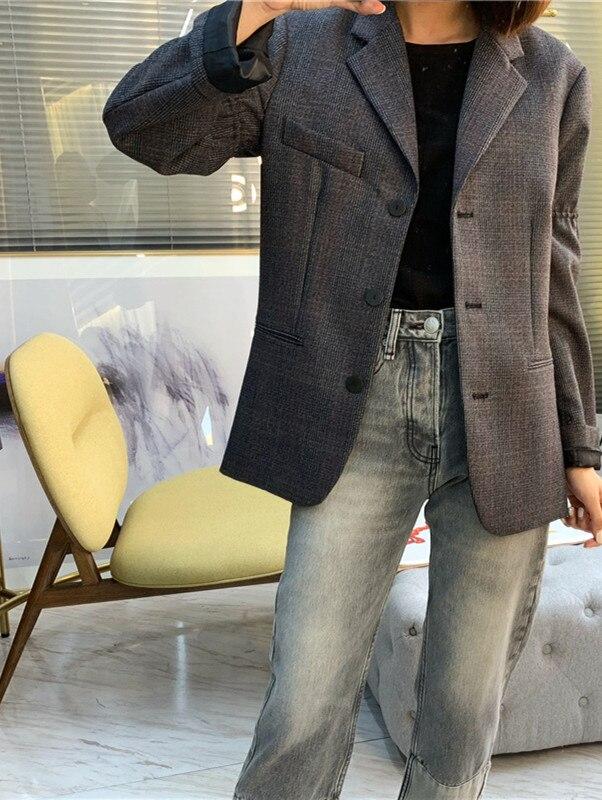 Frauen Wolle Plaid Blazer Mantel Einreiher Büro Dame Jacke Mantel mit Taschen 2019 Herbst Winter Neue