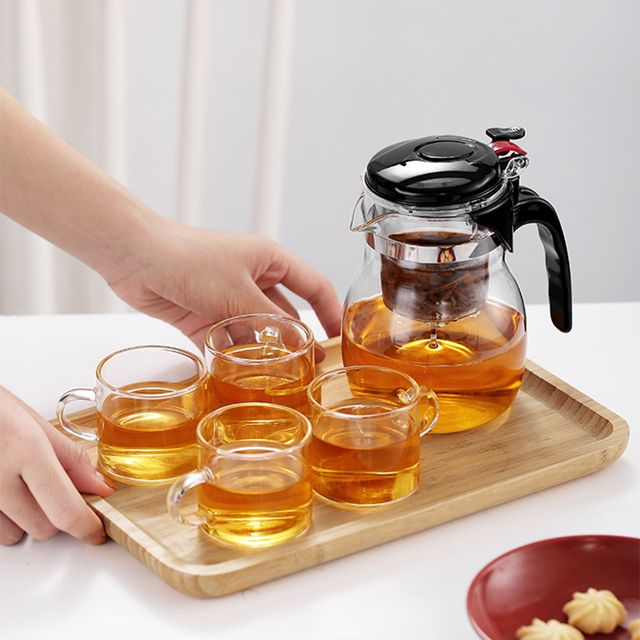 Glass Teapot High quality Heat Resistant Glass Chinese kung fu Tea Set Kettle Coffee Jug Glass Maker Convenient For Office Home 4
