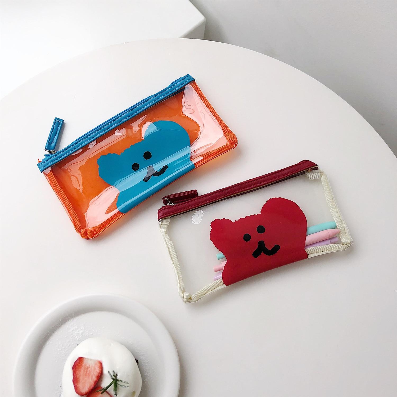 SIXONE Ins Cartoon Little Bear Color Collision PVC Zipper Pencil Case Transparent Korea Student Kawaii Stationery Storage Bag