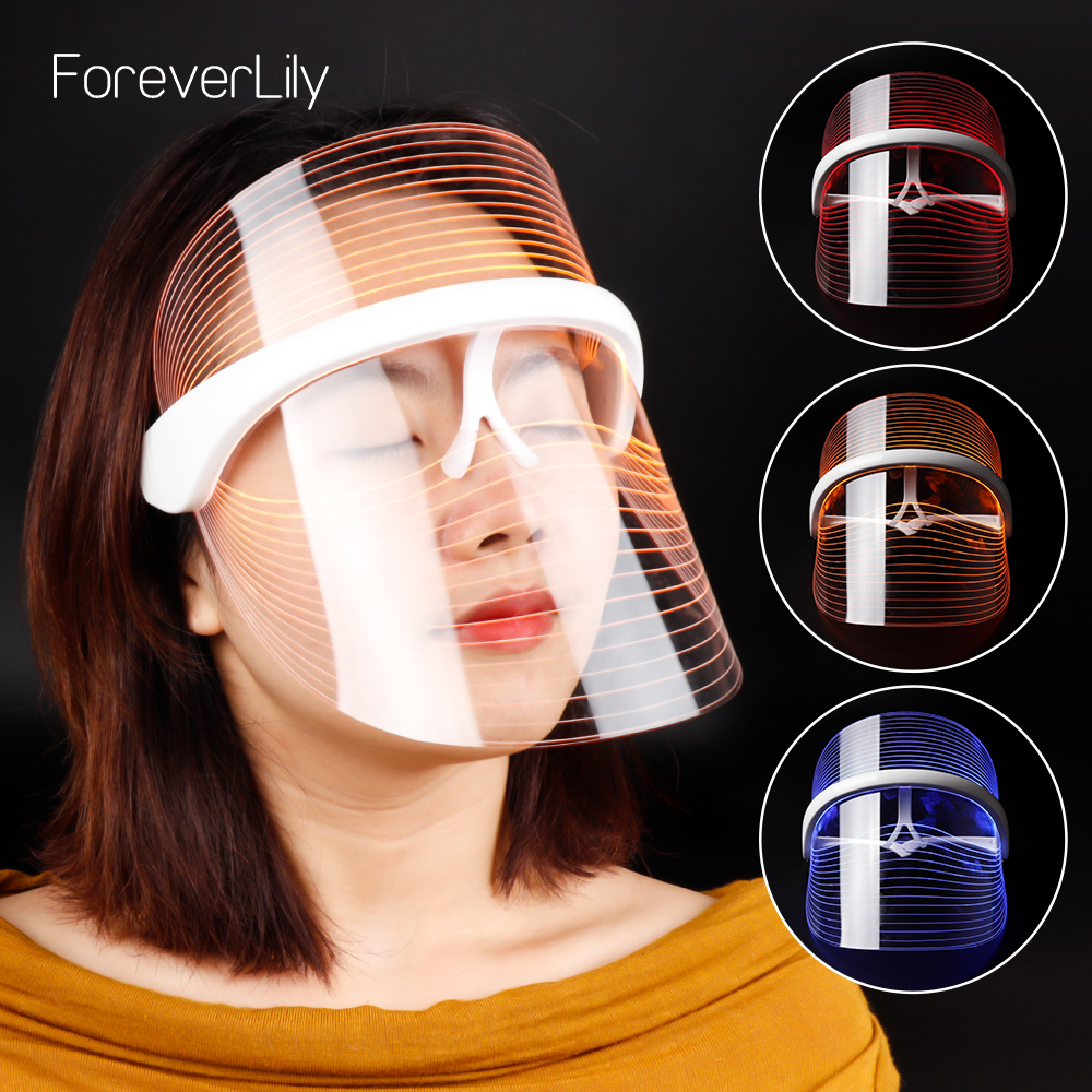3 Colors LED Light Therapy Face Mask Anti-aging Anti Wrinkle Beatuy Tools Facial SPA Instrument Beauty Device Skin Tighten