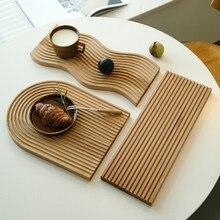 Plateau à Dessert pain ondulé à l'eau, planche à découper, Design géométrique créatif, plaque de Placement, Surface incurvée, moule d'art