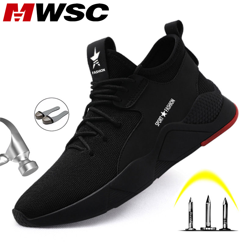 MWSC Men Safety Work Shoes All Season Working Boots Shoes Steel Toe Cap Safety Work Sneakers Male Breathable Anti-smashing Shoes