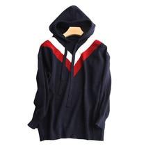 New Sweater Women Spring Fashion Korean Version Geometric Pattern Hooded Short Loose Hood Wool