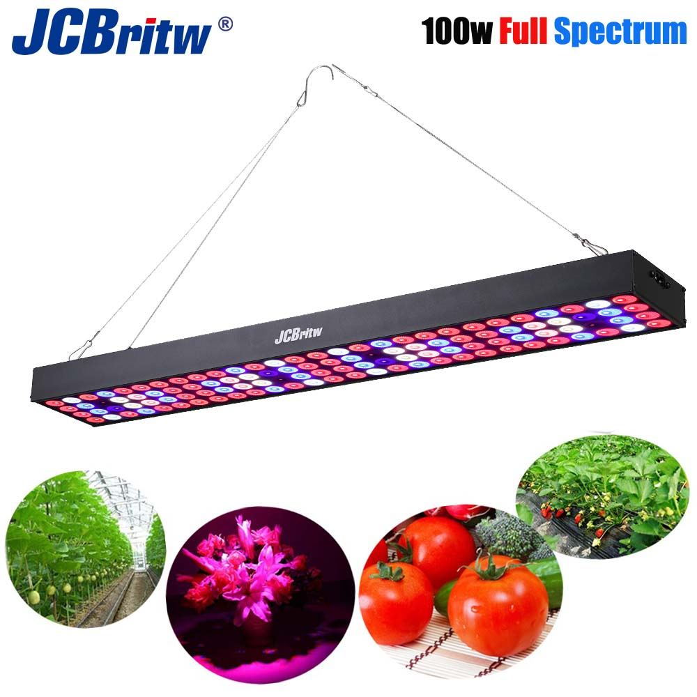 JCBritw LED Grow Light Panel 2ft Full Spectrum With UV IR 100W Pro B Plant Growing Lamp Bulb For Indoor Plants Hydroponic Lights