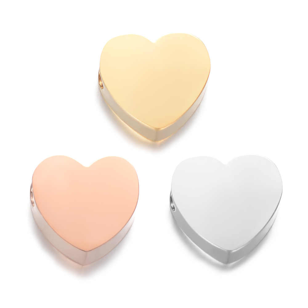 5pcs/lot 7*8mm Fashion Heart Bead 1.8mm Hole DIY Heart Charm for Making Necklace & Bracelet Charm Loose Beads 316L Accessories