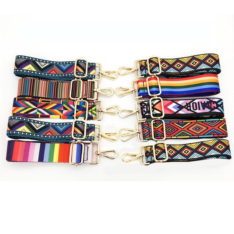 1 Pcs Nylon Colored Belt Bags Strap Accessories For Women Rainbow Adjustable Shoulder Hanger Handbag Straps Decorative
