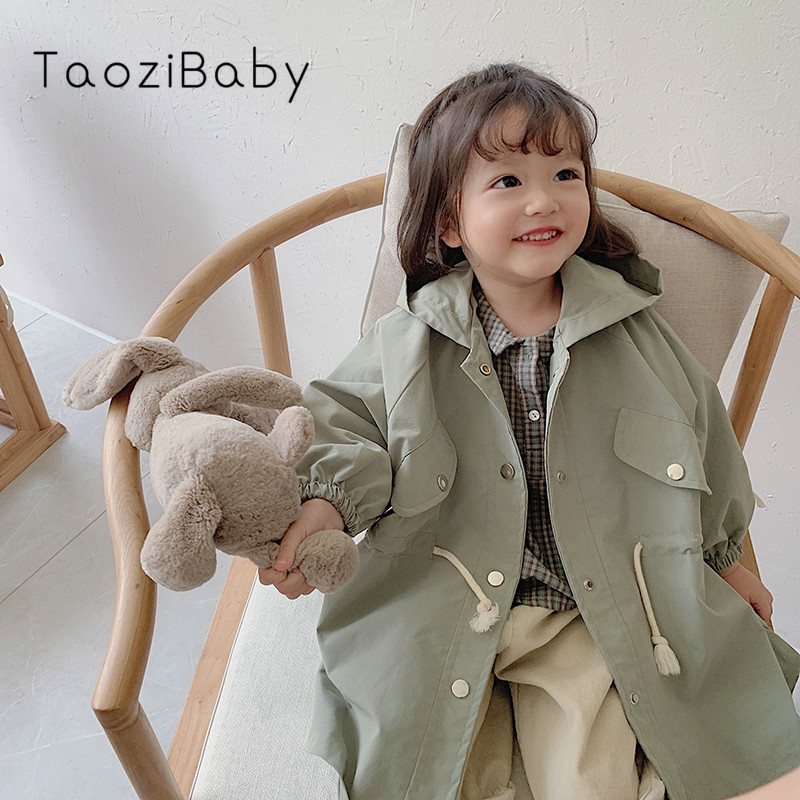 Girls'outerwear Autumn And Winter Clothes 2019 Children's And Girls' Net Red Baby Mid-long Windwear Topcoat Girls   Trench   Coat