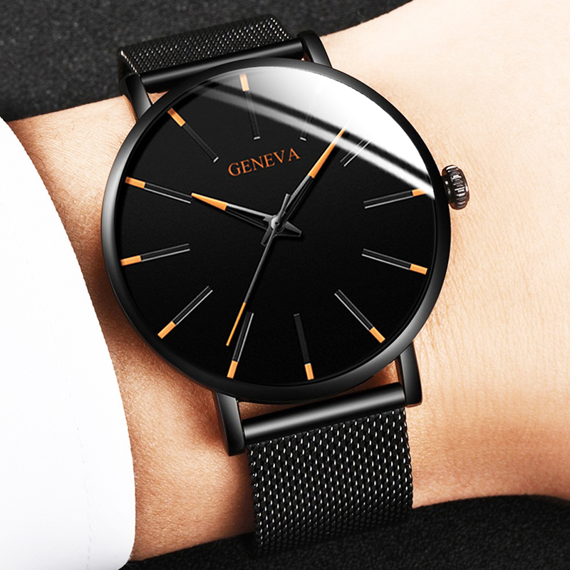Minimalist Fashion Men's Ultra-thin Watches Men's Business Stainless Steel Mesh Belt Quartz Watch Relogio Masculino KT09