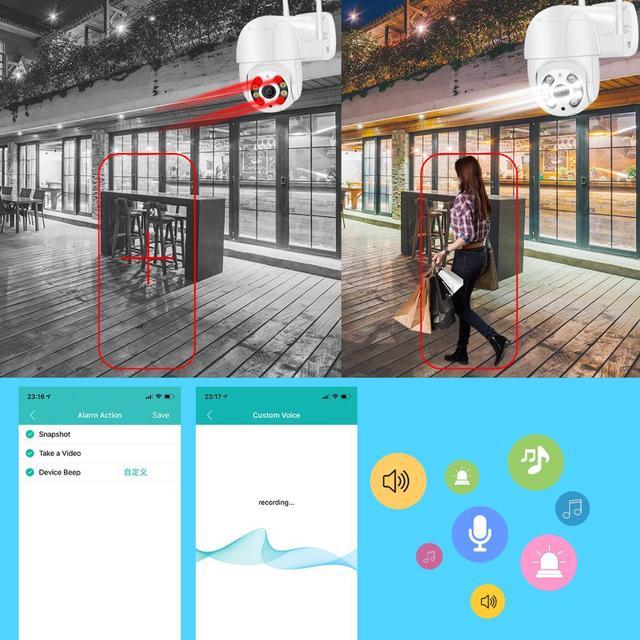 Mini caméra de Surveillance PTZ IP Wifi hd 5MP, dispositif de sécurité sans fil, avec suivi automatique, codec H.265, Zoom numérique x4, ia, détection humaine 3