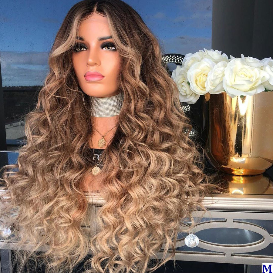 Deep Wave Indian Transparent Lace Front Wigs For Black Women 180Density Ombre 3T Blonde Full Lace Human Hair Wigs With Baby Hair