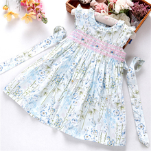 summer girls smocked dress floral ruffles baby flower dresses Cotton kids clothing boutique party holiday beautiful fashion