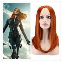 El Capitán América 2 negro viuda Cosplay peluca recta larga traje Natasha Romanoff cabello sintético Pelucas Cos Peruca Pelucas