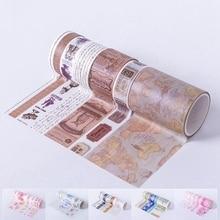 7 rollos/caja Estilo Vintage Washi Tape viaje diario cintas decorativas Living DIY decoraciones pegatinas para tazas libros Scrapbook cinta