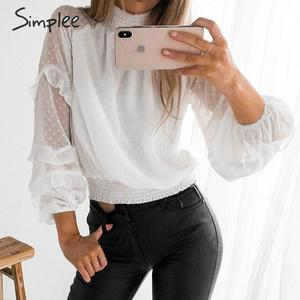 Image 4 - Simplee polka dot print blusa feminina camisa babados manga longa feminino para camisas de cintura alta elástica senhoras blusa camisas feminina