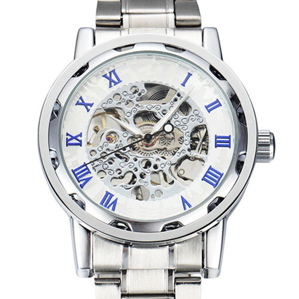 Mechanical Watch  Luxury Waterproof Hollow Watch Men Skeleton Roman Numerals Hollow Dial Stainless Steel Band  Automatic Watch