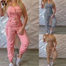 Womens macacão feminino caqui rosa macacão elegante bolso design carga suspender macacão chique streetwear longo macacão