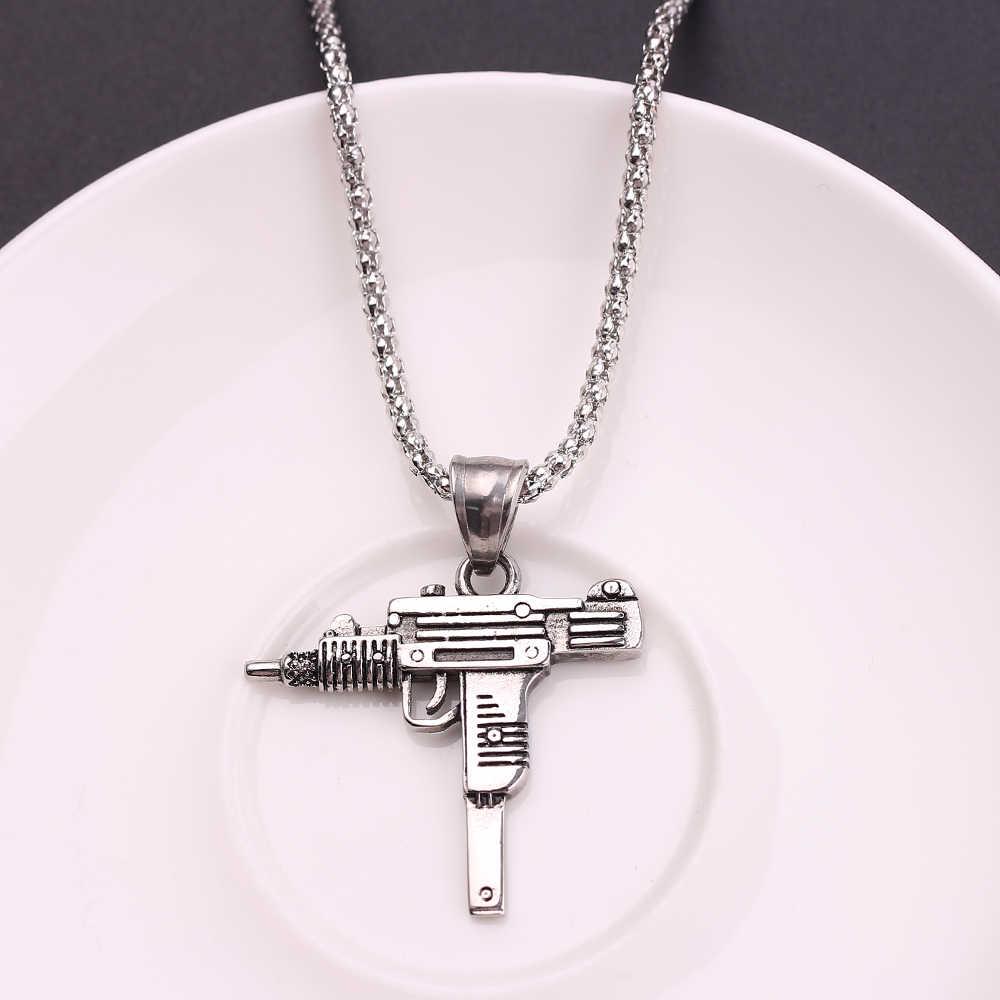 Fajne gotyckie Hip Hop UZI Kolye GUN kształt naszyjnik srebrny/złoty/czarny kolor styl wojskowy mężczyzna łańcuch męskie naszyjniki biżuteria