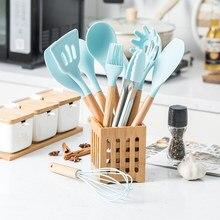 12 pçs conjunto de utensílios de cozinha de silicone antiaderente pá de espátula de madeira lidar com ferramentas de cozinha conjunto com caixa de armazenamento conjunto de ferramentas de cozinha