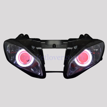 Motorcycle Custom Headlight Assembly For Yamaha YZF R6 08-15 White Angel Red Demon Eyes DRL HID Projector Conversion Headlamp image