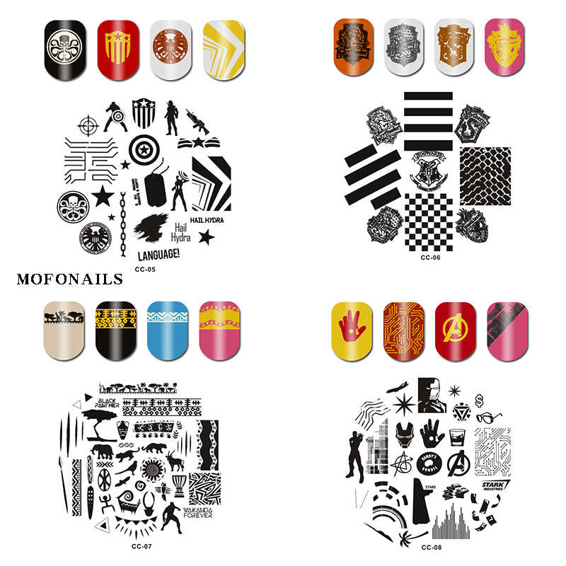 CC Collection ongles estampage bandes coeur Tickety-boo chauve-souris aigle ongles Stamper estampage 1pc rond Image ongles estampage plaque plats