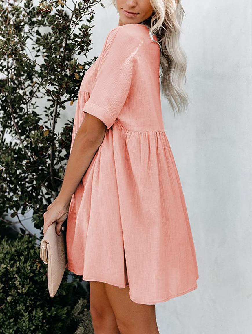 CHH55127 femmes manches courtes col en V plissé lâche couleur unie tunique Mini robe (rose, L)