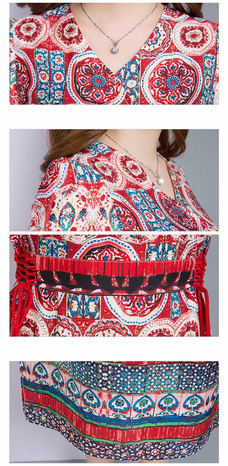 Imprimer femmes rouge robe d'été 2020 col en v décontracté Boho plage longues robes ethnique élégant gland Vestidos grande taille WXF794 es