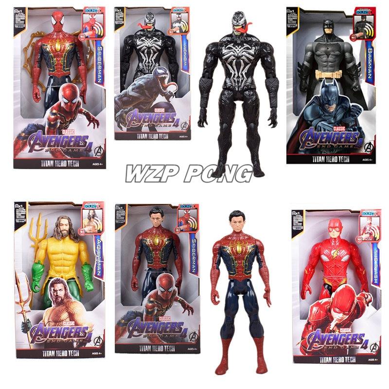 2019 Мстители 4 супергерой Бэтмен Веном флэш Капитан Америка человек паук Аквамен светодиодный со звуком ПВХ фигурка модель игрушки|Игровые фигурки и трансформеры|   | АлиЭкспресс