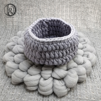 Don&Judy Diameter 50cm WOOL Blanket + Basketry +150x100cm Fabric Backdrop Set Newborn Blanket Background for Photo Shoot Prop photochromic wool fabric