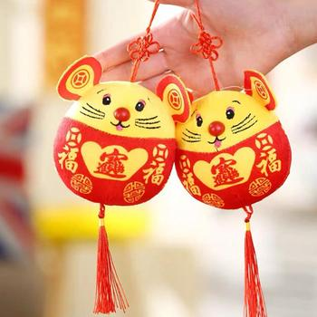 2020 Chinese New Year Plush Toy Year of the Rat Pendant Chinese Knot Plush Red Mouse in Tang Suit Car Home Decor Car Pendant image