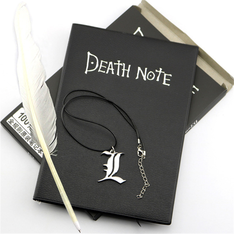 A5 Anime Death Note Notebook Set Leather Journal and Necklace Feather Pen Journal Death Note Pad for Gift D40 1