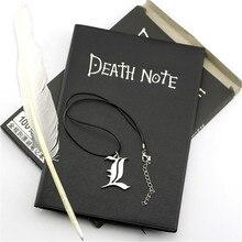 Set de cuaderno de notas de la muerte del Anime A5, diario de cuero y pluma, collar, diario, Bloc de notas de la muerte para regalo D40