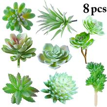 8 шт реалистичные искусственные влагозапасающие растения творческий набор Ассорти DIY искусственный суккулент искусственное растение Подс...