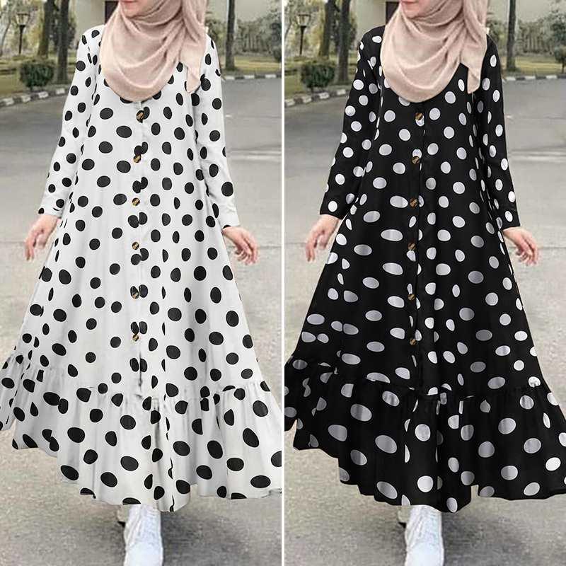 Women s Print Sundress Dubai ZANZEA Turkish Ruffle Dress Kaftan Floral Maxi Vestidos Female Button Islam