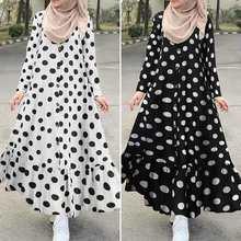 Women's Print Sundress Dubai ZANZEA Turkish Ruffle Dress Kaftan Floral Maxi Vestidos Female Button Islam Clothing Robe Oversized