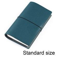 Caderno de couro genuíno recarregável viagem diário tamanho padrão organizador com bolso interno do couro diário sketchbook planner
