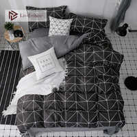 Liv-Esthete Nordic Bedding Set Mans Duvet Cover Pillowcase Flat Sheet Single Double Queen King Adult Bedclothes Bed Linen Set