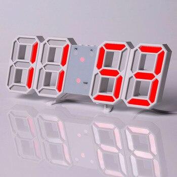 Led Digital Wall Clock Modern Design Watch Clocks 3D Living Room Decor Table  Alarm Nightlight Luminous Desktop 7
