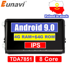 Eunavi 4G 64G Android 9 2 Din auto Radio estéreo GPS para VW Passat B6 CC Polo GOLF 5 6 Touran Jetta Tiguan Magotan asiento DSP NO DVD