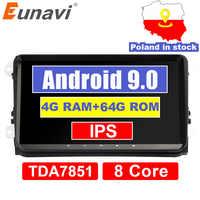 Eunavi 4G 64G Android 9 2 Din autoradio stéréo GPS pour VW Passat B6 CC Polo GOLF 5 6 Touran Jetta Tiguan Magotan siège DSP pas de DVD
