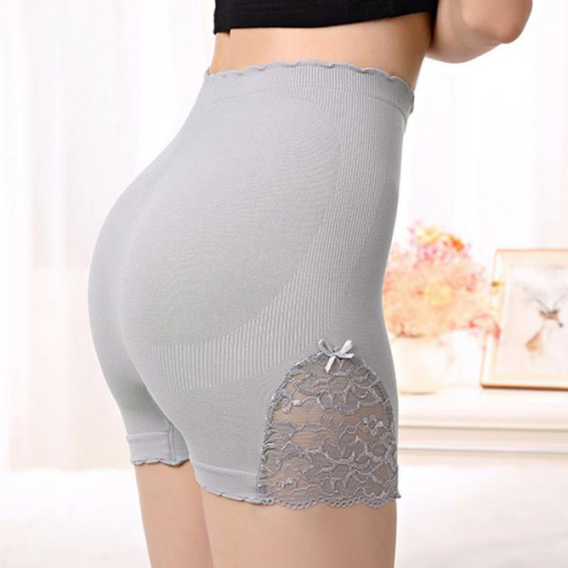 Women Safety Short Pants Lace Floral Side Safety Pant High Waist Stretchy Solid Color Soft Cotton Seamless Safety Pants